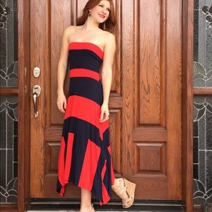 Old Navy Dresses - Red and navy strapless maxi dress from Old Navy